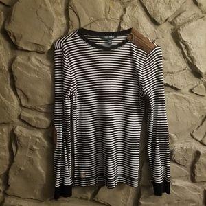 Ralph Lauren Stripe Elbow Patch Suede Zipper Shirt